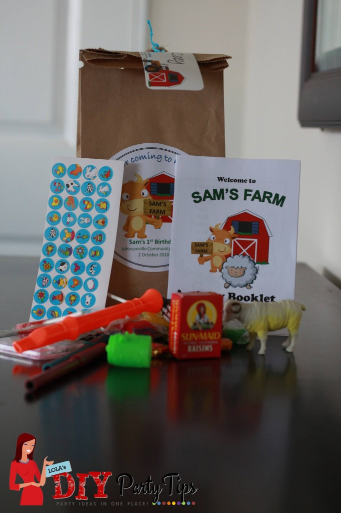Farm Birthday Party Lootbag contents