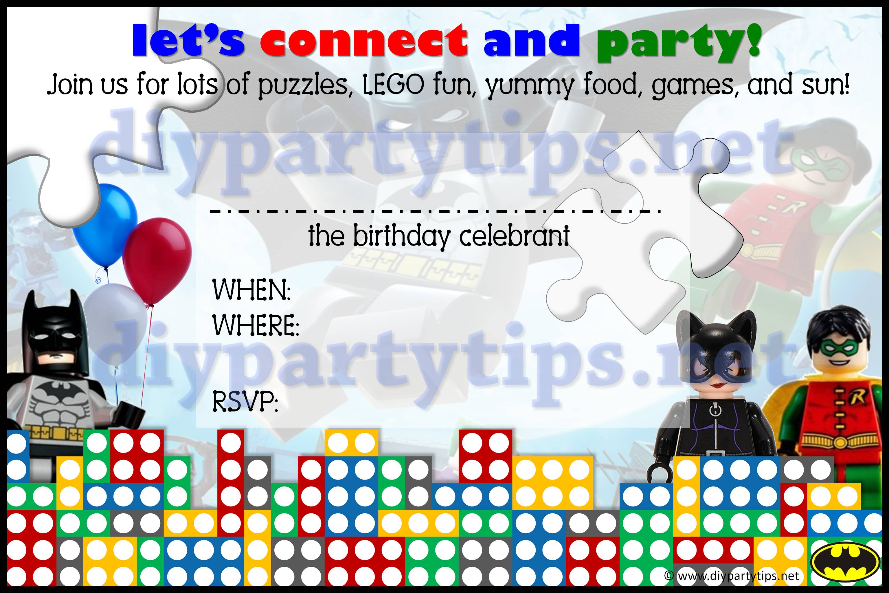 FREE PRINTABLE Lego Party Invitation Lolas DIY Party Tips - Lego birthday invitation template free